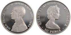 World Coins - SAINT HELENA, 50 Pence, 1984, KM #13a, , Silver, 38 5, 28 28