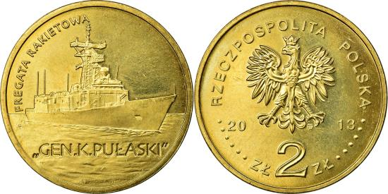 POLISH NAVY GUIDED-MISSILE FRIGATE GEN KAZIMIERZ PULASKI MINT COIN OF POLAND