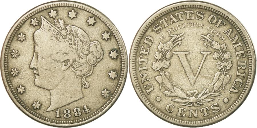 US Coins - Coin, United States, Liberty Nickel, 5 Cents, 1884, U.S. Mint, Philadelphia