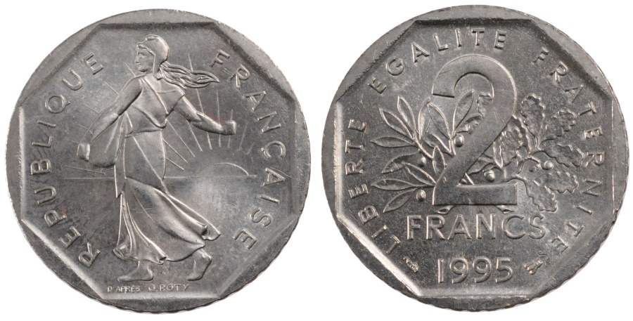 World Coins - FRANCE, Semeuse, 2 Francs, 1995, KM #942.1, , Nickel, 26.5, Gadoury...