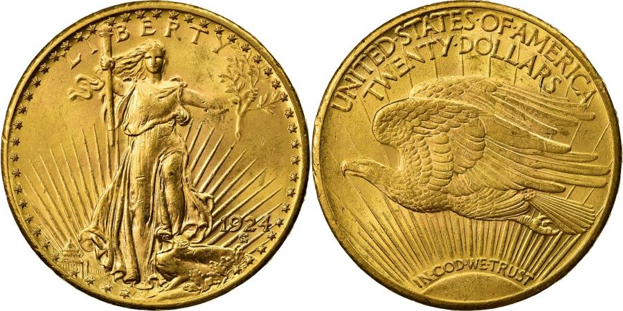 US Coins - Coin, United States, Saint-Gaudens, $20, Double Eagle, 1924, U.S. Mint