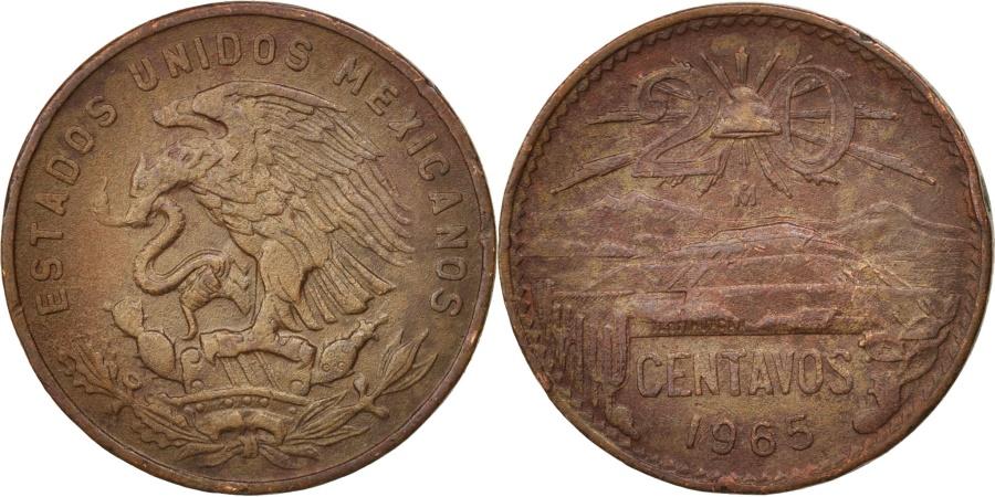 World Coins - Mexico, 20 Centavos, 1965, Mexico City, , Bronze, KM:440