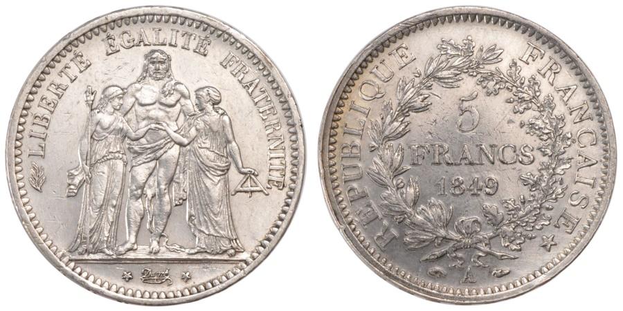 World Coins - FRANCE, Hercule, 5 Francs, 1849, Paris, KM #756.1, , Silver, Gadoury...