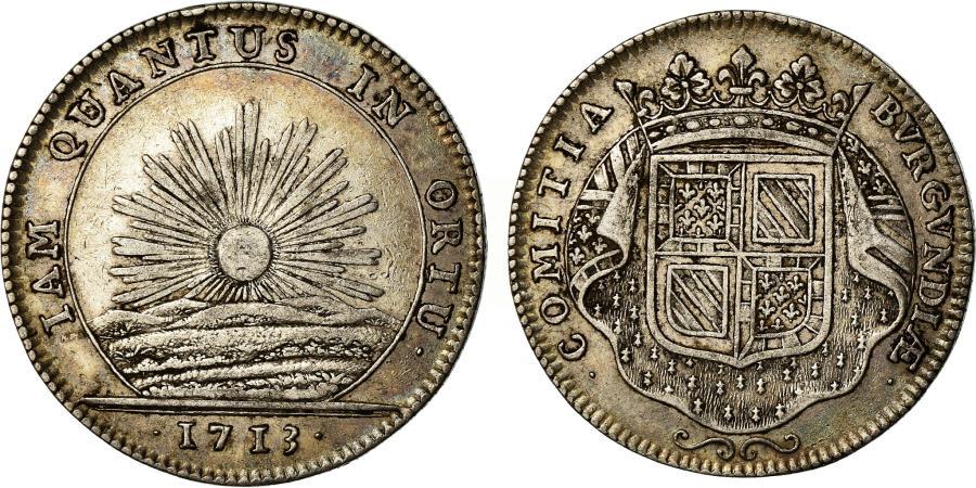 World Coins - France, Token, Louis XIV, Etats de Bourgogne, History, 1713, Duvivier