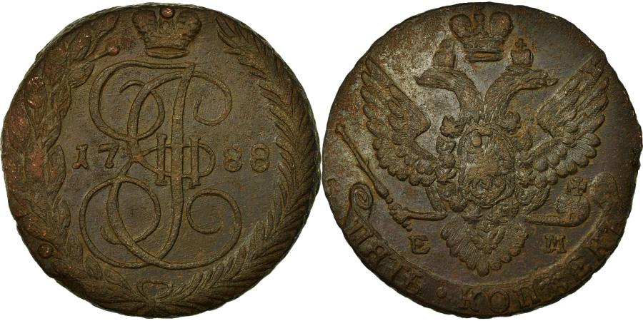 World Coins - Coin, Russia, Catherine II, 5 Kopeks, 1788, Ekaterinbourg, , Copper