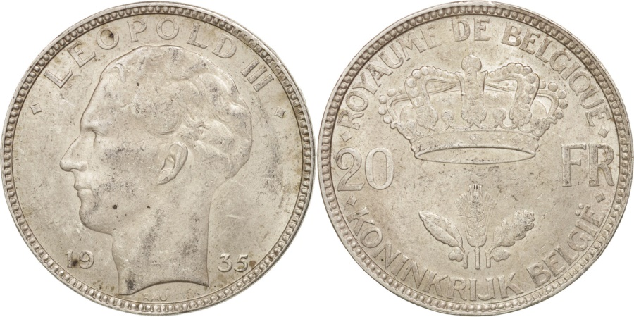 World Coins - Belgium, 20 Francs, 20 Frank, 1935, , Silver, KM:105