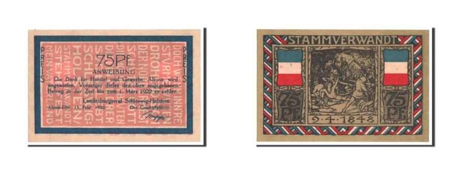 World Coins - Germany, Altona, 75 Pfennig, 1922, UNC(63), Mehl #29.1