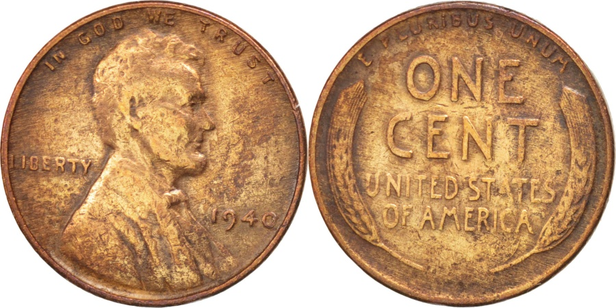 US Coins - UNITED STATES, Lincoln Cent, Cent, 1940, U.S. Mint, KM #132, , Bronze,.