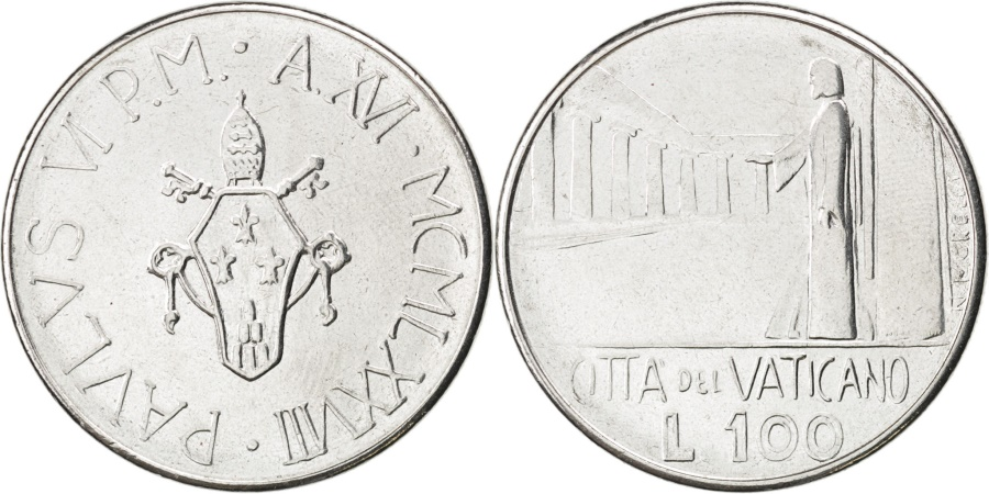 World Coins - VATICAN CITY, 100 Lire, 1978, KM #137, , Stainless Steel, 27.75, 8.12