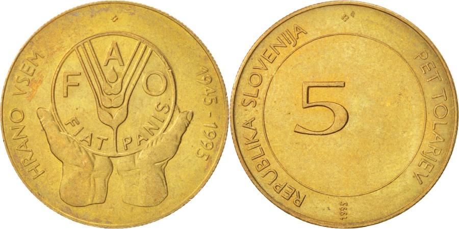 World Coins - SLOVENIA, 5 Tolarjev, 1995, KM #21, , Nickel-Brass, 26, 6.36