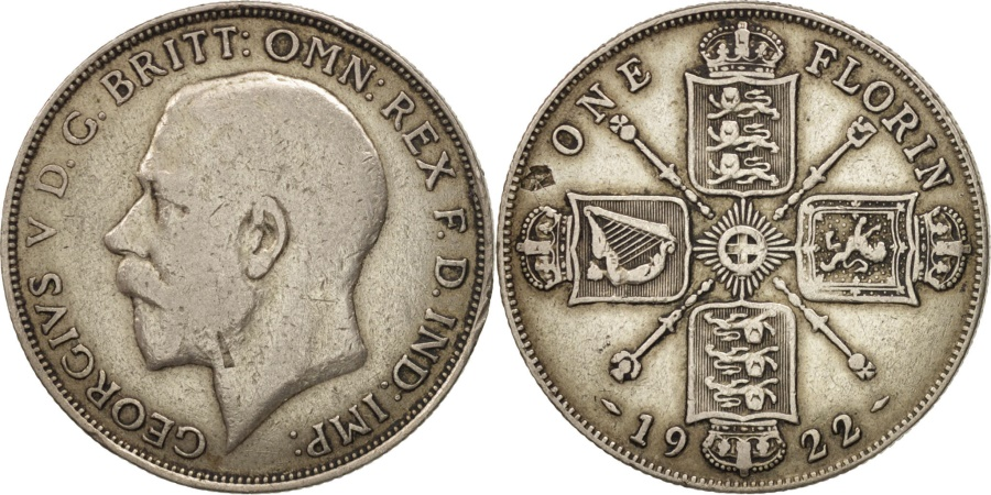 World Coins - Great Britain, George V, Florin, Two Shillings, 1922, , Silver, KM:817a