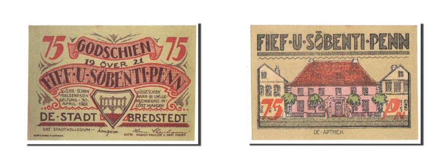 World Coins - Germany, Bredstedt, 75 Pfennig, 1921, UNC(64), Mehl #159.1