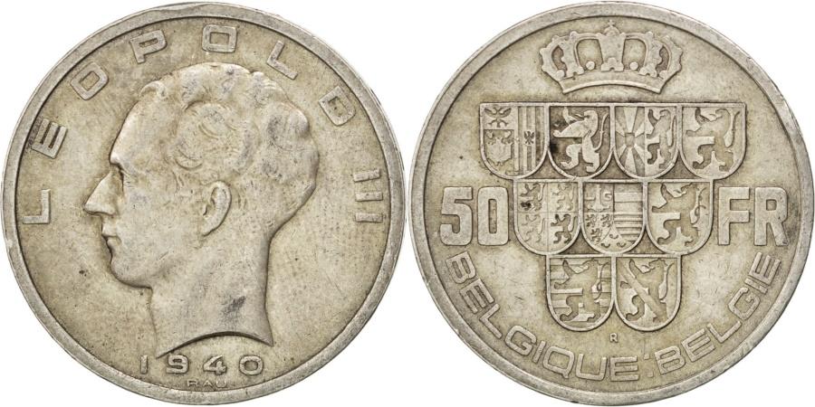 World Coins - BELGIUM, 50 Francs, 50 Frank, 1940, KM #121, , Silver, 33, 20.05