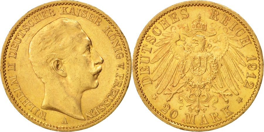 World Coins - German States, PRUSSIA, Wilhelm II, 20 Mark, 1912, Berlin, , Gold