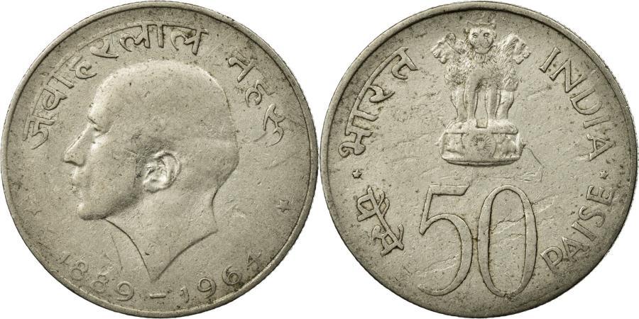 World Coins - Coin, INDIA-REPUBLIC, 50 Paise, 1964, Calcutta, EF(40-45), Nickel, KM:57