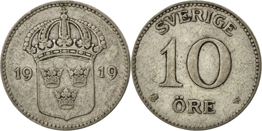 World Coins - SWEDEN, 10 Ore, 1919, KM #780, , Silver, 15, 1.46