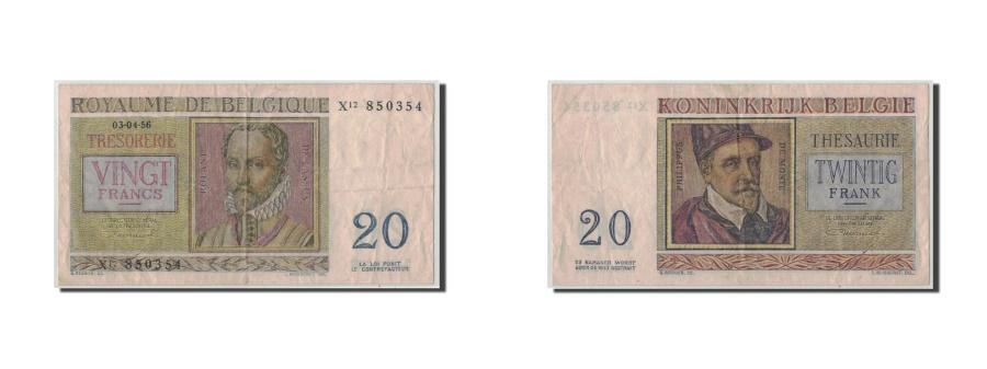 World Coins - Belgium, 20 Francs, 1956, KM:132b, 1956-04-03, VF(30-35)