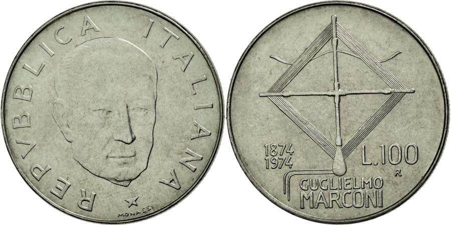 World Coins - Coin, Italy, 100 Lire, 1974, Rome, AU(55-58), Stainless Steel, KM:102