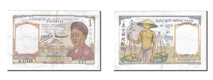 World Coins - French Indo-China, 1 Piastre, 1949, KM #54d, UNC(60-62), G11149