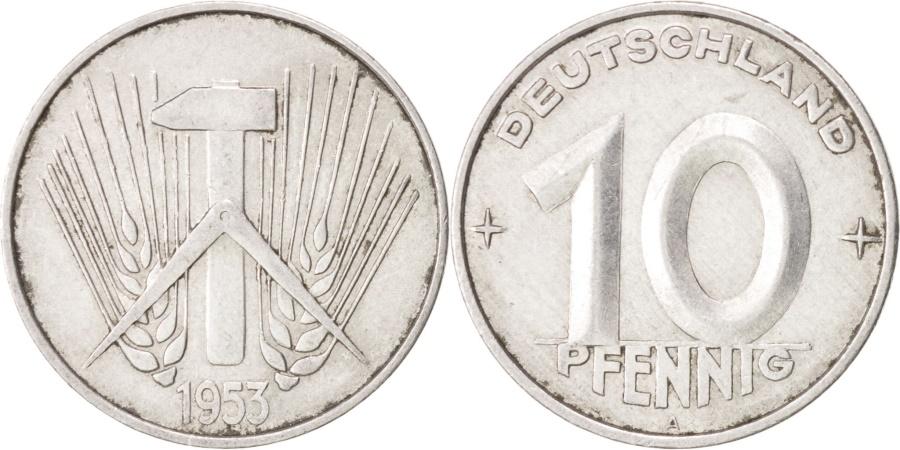 World Coins - GERMAN-DEMOCRATIC REPUBLIC, 10 Pfennig, 1953, Berlin, , Aluminum, KM:7