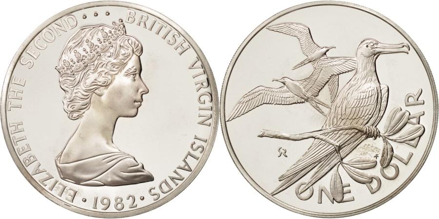World Coins - BRITISH VIRGIN ISLANDS, Elizabeth II, Dollar, 1982, Franklin Mint,