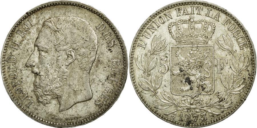 World Coins - Coin, Belgium, Leopold II, 5 Francs, 5 Frank, 1873, AU(50-53), Silver, KM:24
