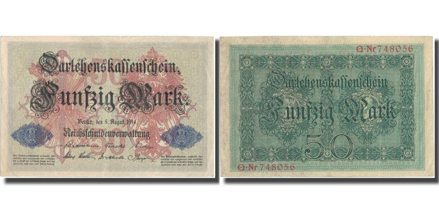 World Coins - Banknote, Germany, 50 Mark, 1914, 1914-08-05, KM:49a, UNC(60-62)