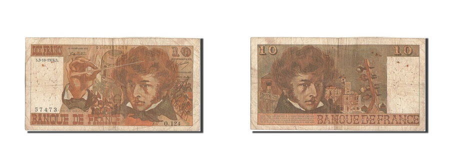 World Coins - France, 10 Francs, 10 F 1972-1978 ''Berlioz'', 1974, KM #150c, 1974-10-03,...