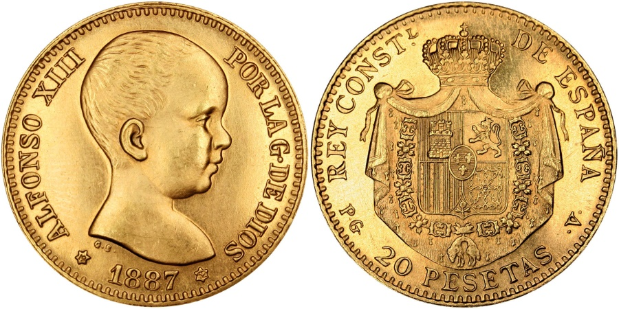 World Coins - SPAIN, 20 Pesetas, 1887, Madrid, KM #693, , Gold, 6.41