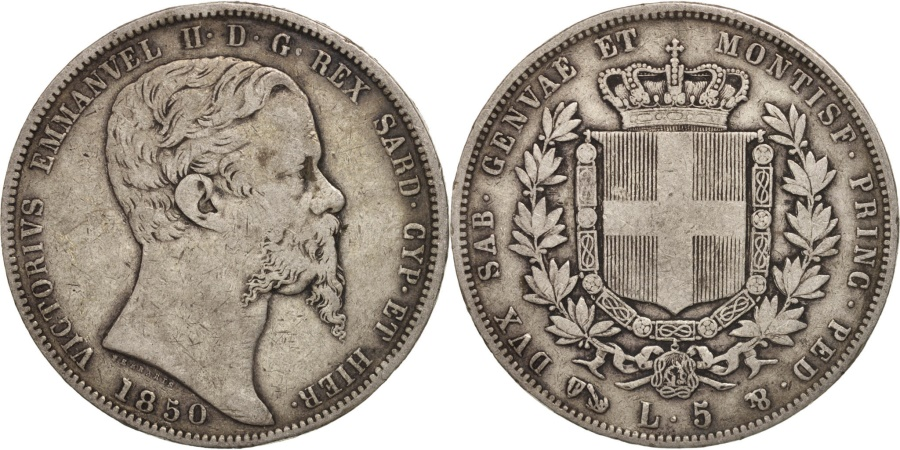 Italian states sardinia vittorio emanuele ii 5 lire for Coin torino