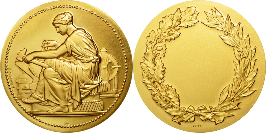 World Coins - FRANCE, Business & industry, The Fifth Republic, Medal, , Gilt Bronze,.