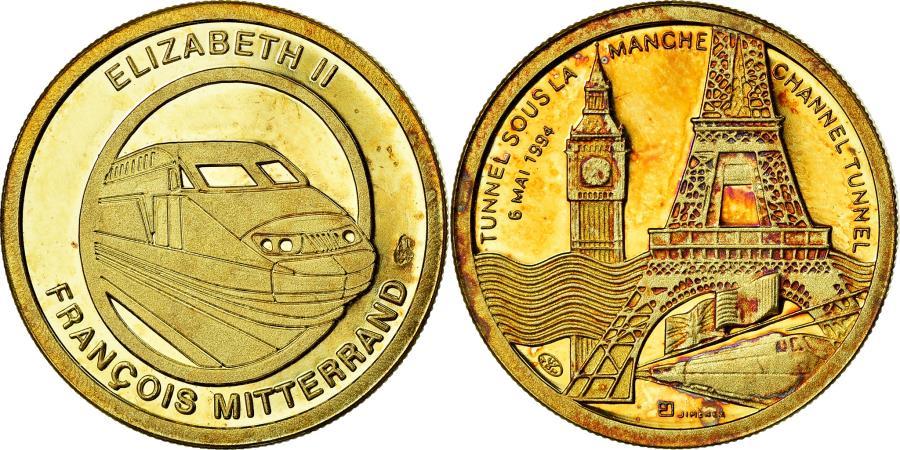 World Coins - France, Medal, Tunnel sous la Manche - Elizabeth II, Mitterrand, 1990,