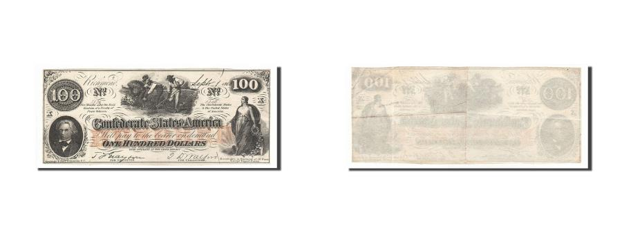 US Coins - Banknote, Confederate States of America, 100 Dollars, 1862, 1862-08-26, KM:45