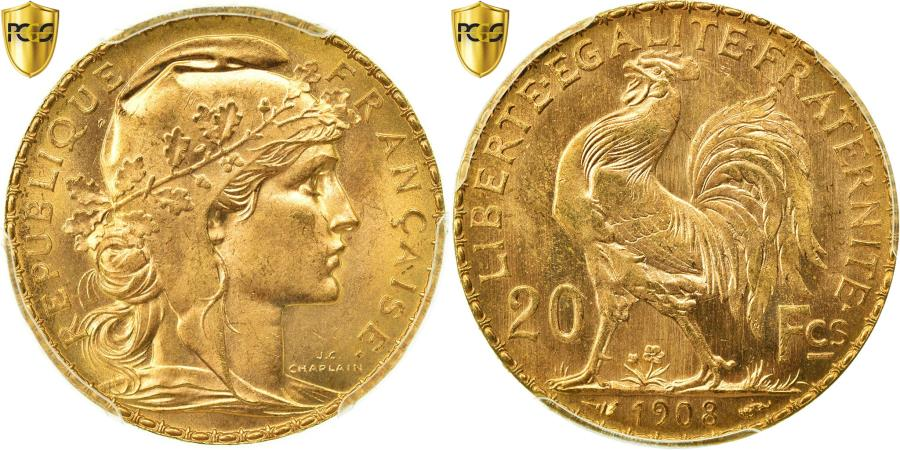 World Coins - Coin, France, Marianne, 20 Francs, 1908, PCGS, MS66+, Gold, KM:857, graded