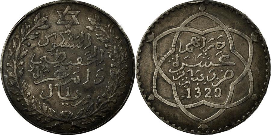 Coin Morocco Abd Al Hafiz Rial 10 Dirhams 1911 Bi Bariz Paris