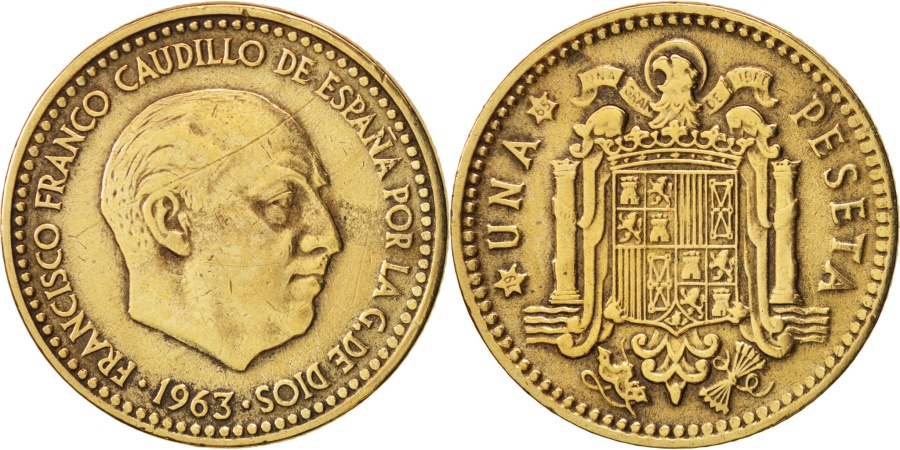World Coins - Spain, Francisco Franco, caudillo, Peseta, 1963, , KM:775