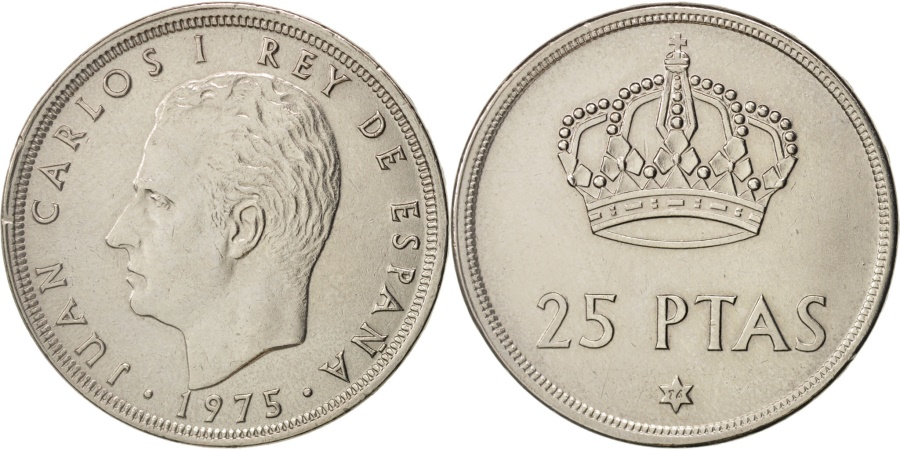 World Coins - Spain, Juan Carlos I, 25 Pesetas, 1975, , Copper-nickel, KM:808
