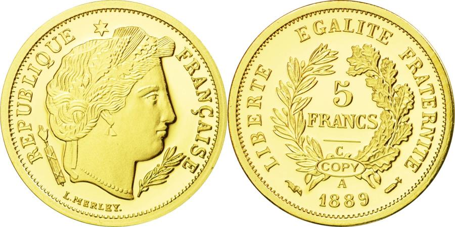 World Coins - France, Medal, Reproduction, 5 Francs 1889 A, Merley, , Gold