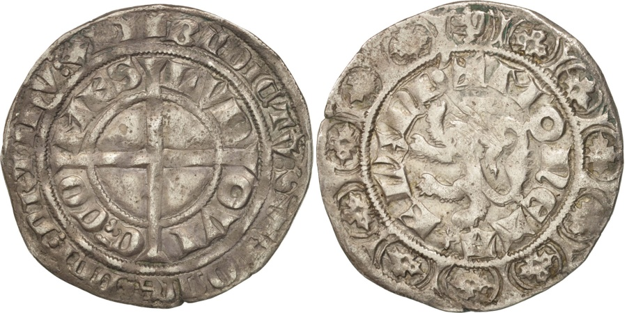 World Coins - France, FLANDERS, Louis II de Male, Gros au lion, , Boudeau:2230