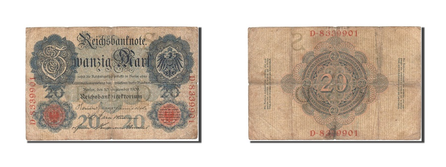 World Coins - Germany, 20 Mark, 1909, KM:37, 1909-09-10, VG(8-10)