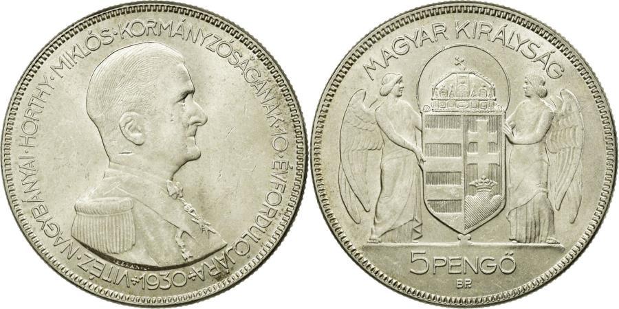 World Coins - Coin, Hungary, 5 Pengö, 1930, Budapest, AU(55-58), Silver, KM:512.1