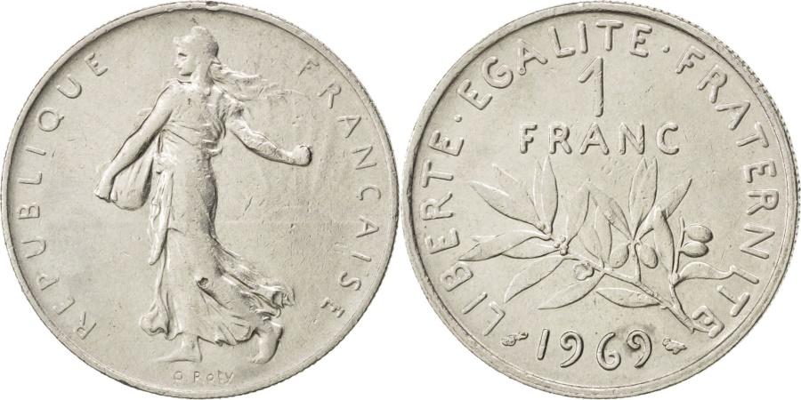 World Coins - FRANCE, Semeuse, Franc, 1969, Paris, KM #925.1, , Nickel, 24, Gadoury..