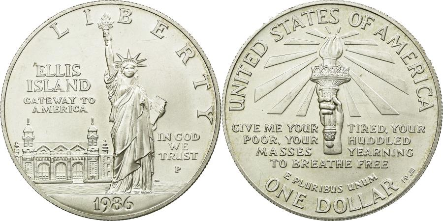 US Coins - Coin, United States, Dollar, 1986, U.S. Mint, Philadelphia, , Silver