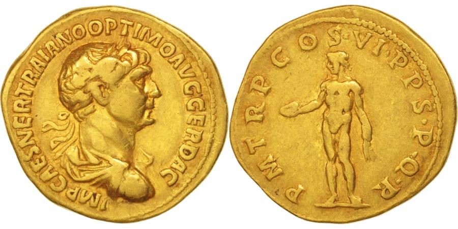 Aureus 114-117 Roma Coin, Trajan, Roma, Gold, RIC:347 EF