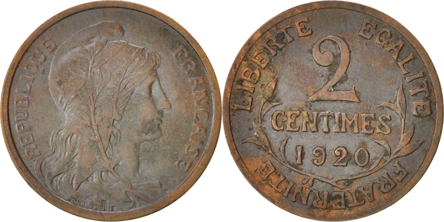 World Coins - France, Dupuis, 2 Centimes, 1920, Paris, Bronze, KM:841, Gadoury:107
