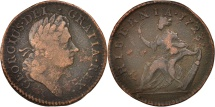 Us Coins - US COLONIAL AMERICA, Halfpenny, 1723, VF(20-25), Copper, KM:23.1