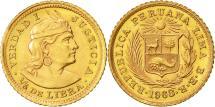 World Coins - Coin, Peru, 1/5 Libra, Pound, 1968, Lima, MS(63), Gold, KM:210