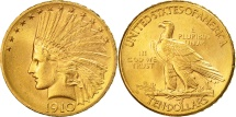 Us Coins - United States, Indian Head, $10, 1910, Denver, MS(60-62), Gold, KM:130