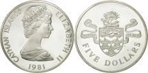 World Coins - Cayman Islands, Elizabeth II, 5 Dollars, 1981, MS(63), Silver, KM:8