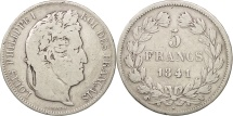 France, Louis-Philippe, 5 Francs, 1841, Lille, VF(20-25), Silver, KM:749.13